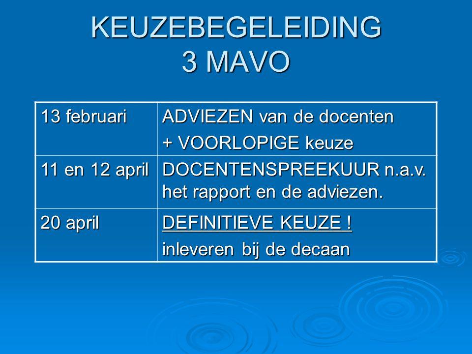 KEUZEBEGELEIDING 3 MAVO 13 februari ADVIEZEN van de docenten + VOORLOPIGE keuze 11 en 12 april DOCENTENSPREEKUUR n.a.v. het rapport en de adviezen. 20