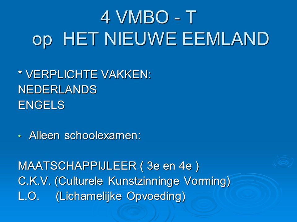 4 VMBO - T op HET NIEUWE EEMLAND * VERPLICHTE VAKKEN: NEDERLANDSENGELS Alleen schoolexamen: Alleen schoolexamen: MAATSCHAPPIJLEER ( 3e en 4e ) C.K.V.