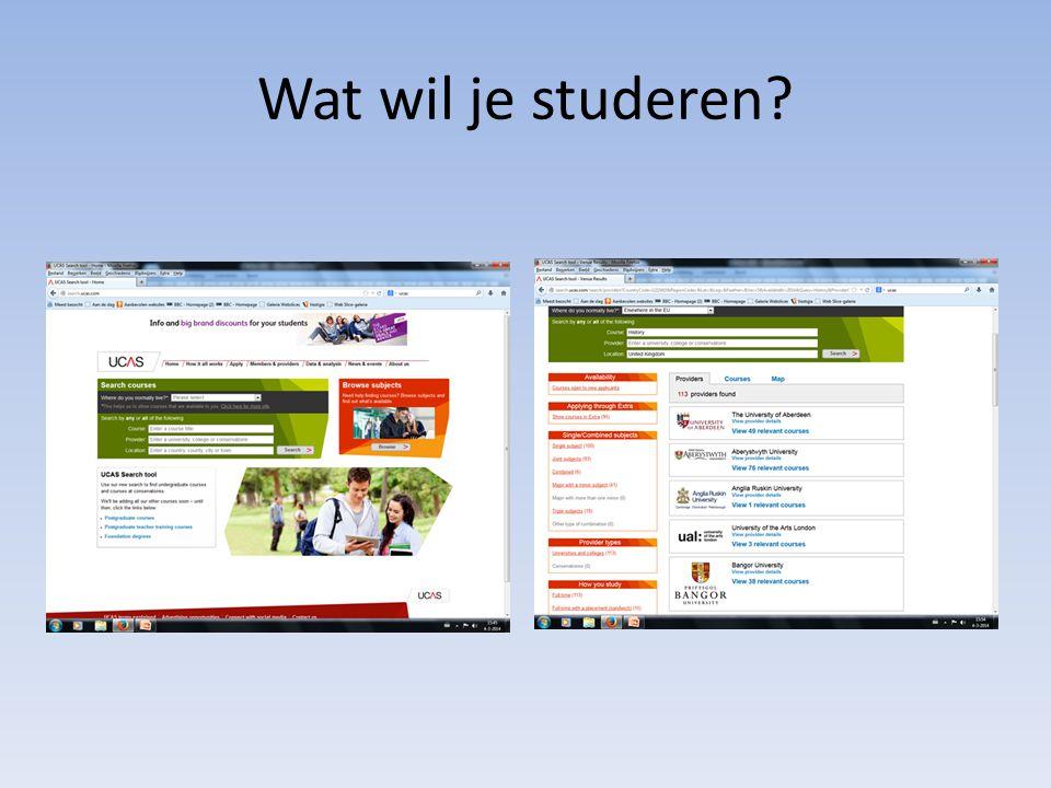 Wat wil je studeren?