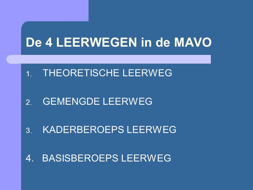 De 4 LEERWEGEN in de MAVO 1. THEORETISCHE LEERWEG 2.