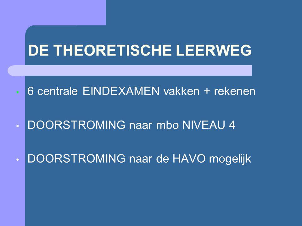 DE THEORETISCHE LEERWEG 6 centrale EINDEXAMEN vakken + rekenen DOORSTROMING naar mbo NIVEAU 4 DOORSTROMING naar de HAVO mogelijk