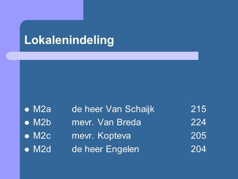 Lokalenindeling M2a de heer Van Schaijk215 M2bmevr.