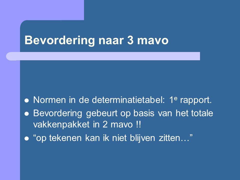 Bevordering naar 3 mavo Normen in de determinatietabel: 1 e rapport.
