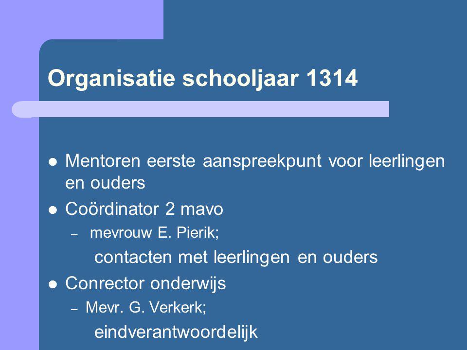 Organisatie schooljaar 1314 Mentoren eerste aanspreekpunt voor leerlingen en ouders Coördinator 2 mavo – mevrouw E.