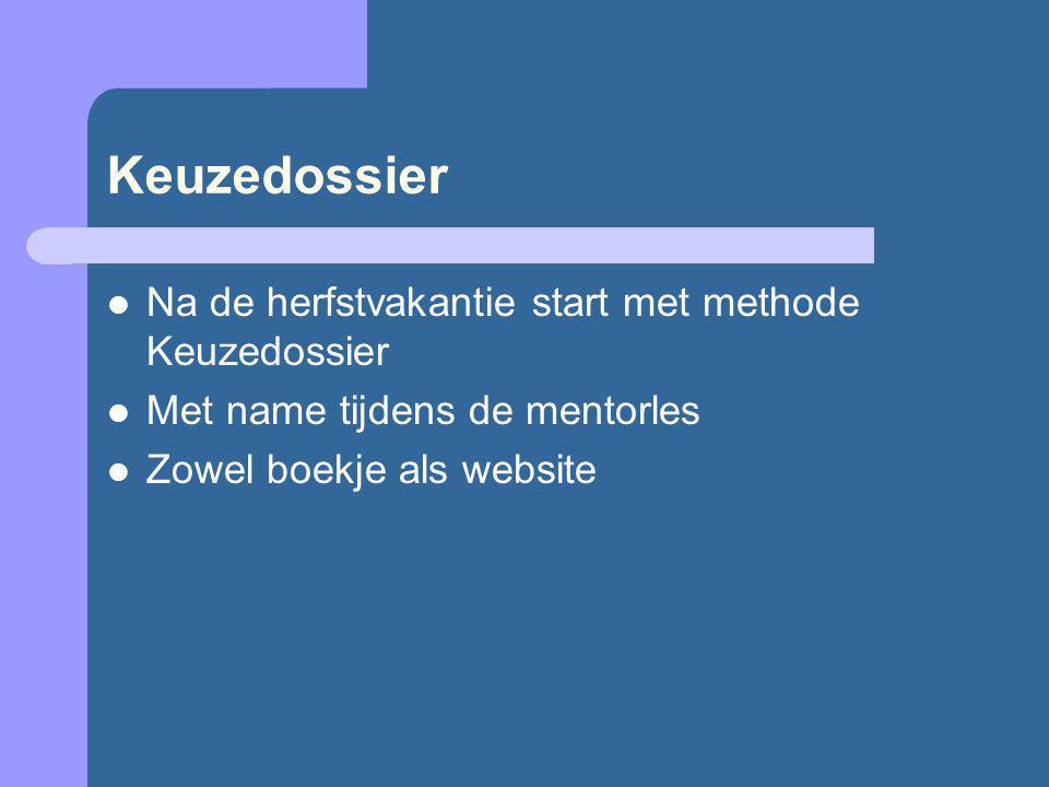 Keuzedossier Na de herfstvakantie start met methode Keuzedossier Met name tijdens de mentorles Zowel boekje als website