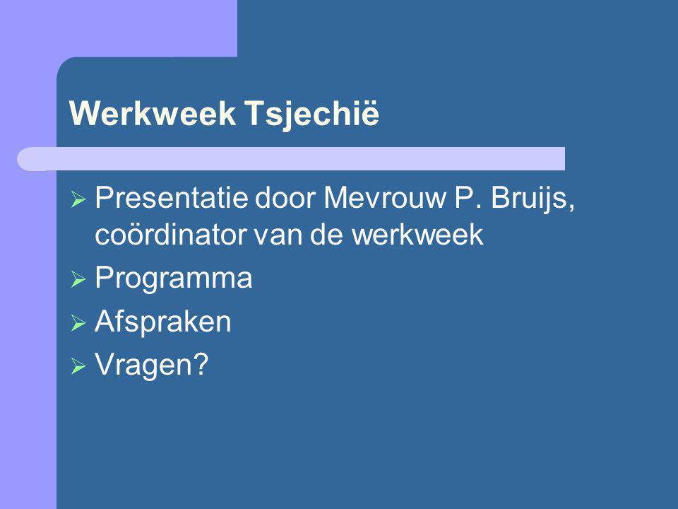 Werkweek Tsjechië  Presentatie door Mevrouw P. Bruijs, coördinator van de werkweek  Programma  Afspraken  Vragen?