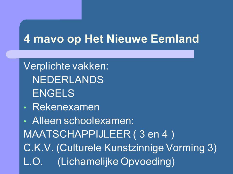 4 mavo op Het Nieuwe Eemland Verplichte vakken: NEDERLANDS ENGELS Rekenexamen Alleen schoolexamen: MAATSCHAPPIJLEER ( 3 en 4 ) C.K.V. (Culturele Kunst
