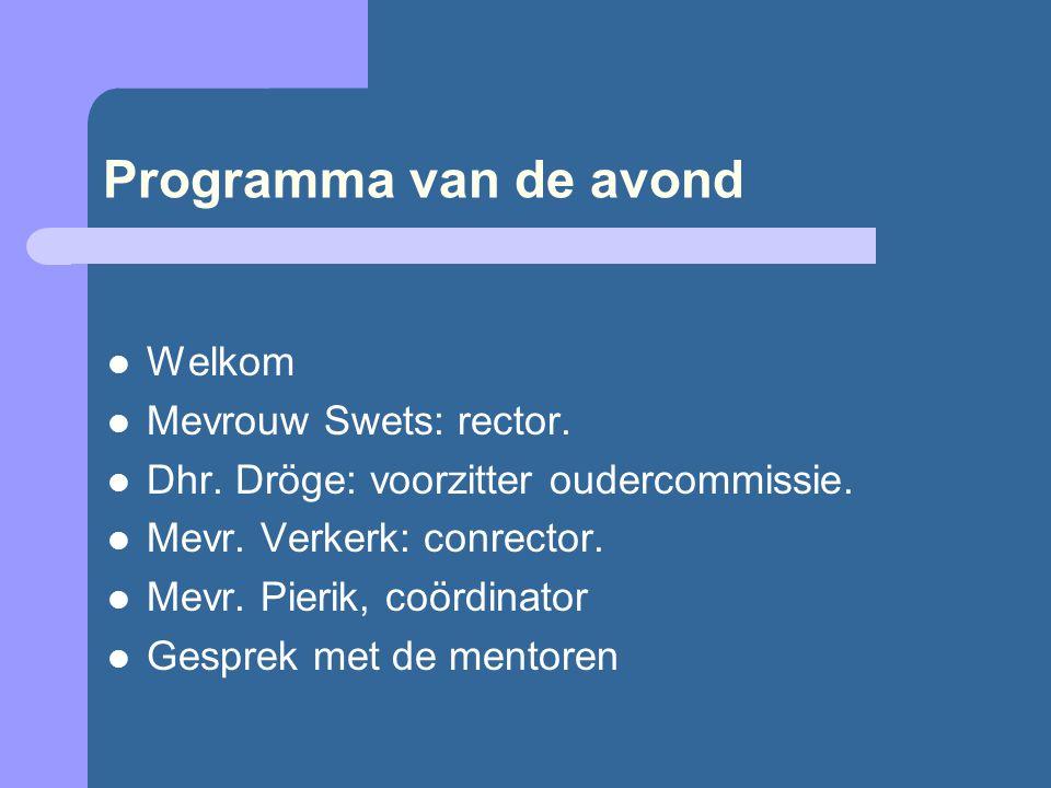 Programma van de avond Welkom Mevrouw Swets: rector.