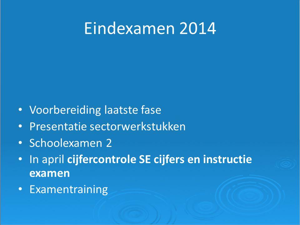 Eindexamen 2014 Voorbereiding laatste fase Presentatie sectorwerkstukken Schoolexamen 2 In april cijfercontrole SE cijfers en instructie examen Examen