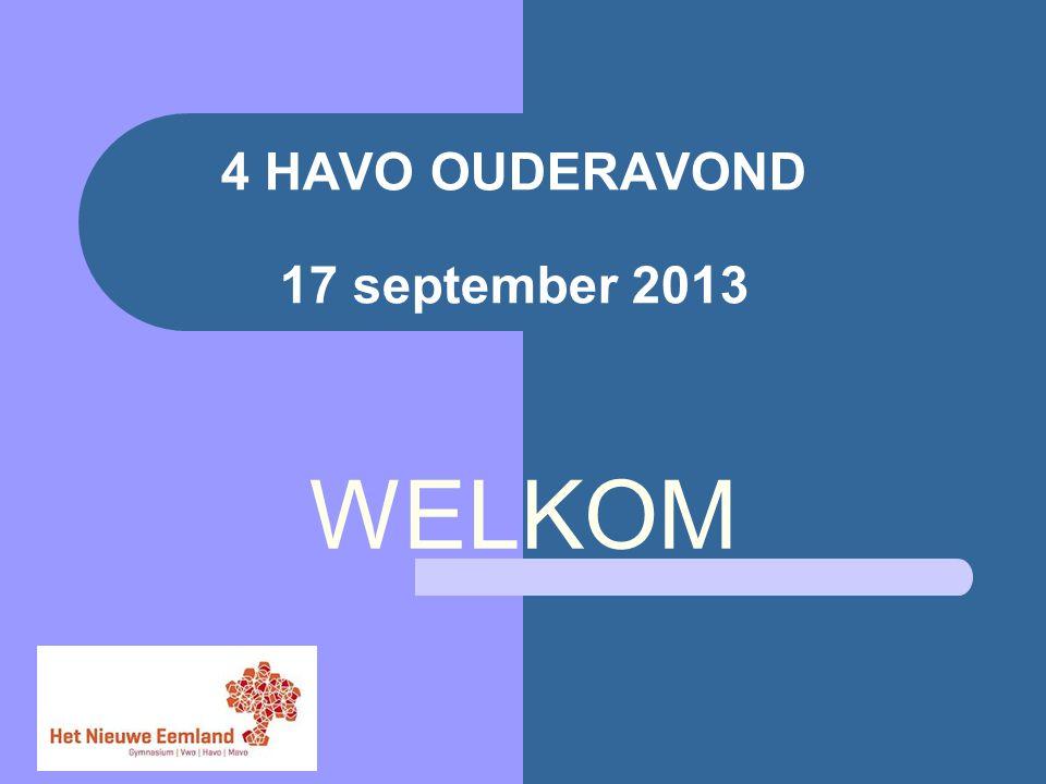 4 HAVO OUDERAVOND 17 september 2013 WELKOM