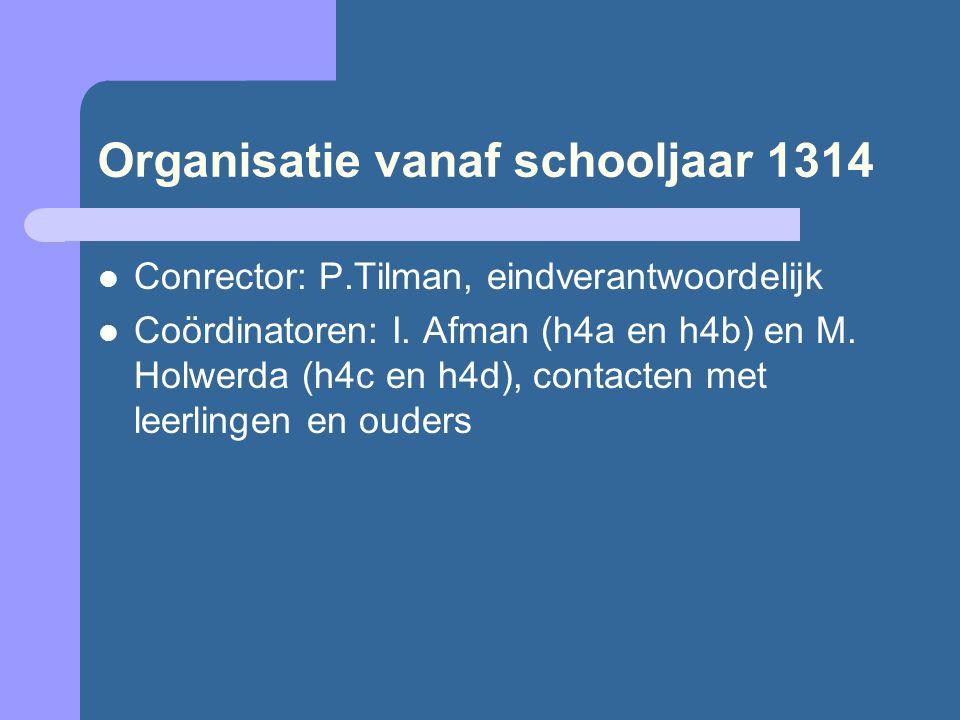 Organisatie vanaf schooljaar 1314 Conrector: P.Tilman, eindverantwoordelijk Coördinatoren: I. Afman (h4a en h4b) en M. Holwerda (h4c en h4d), contacte