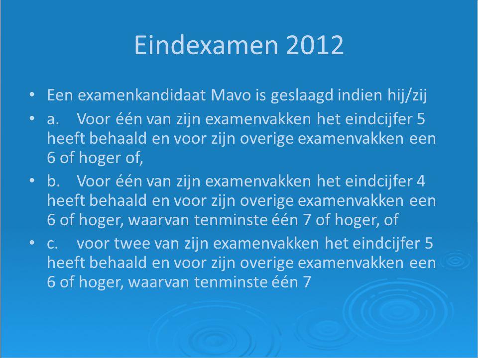 Eindexamen 2012 Een examenkandidaat Mavo is geslaagd indien hij/zij a.Voor één van zijn examenvakken het eindcijfer 5 heeft behaald en voor zijn overi