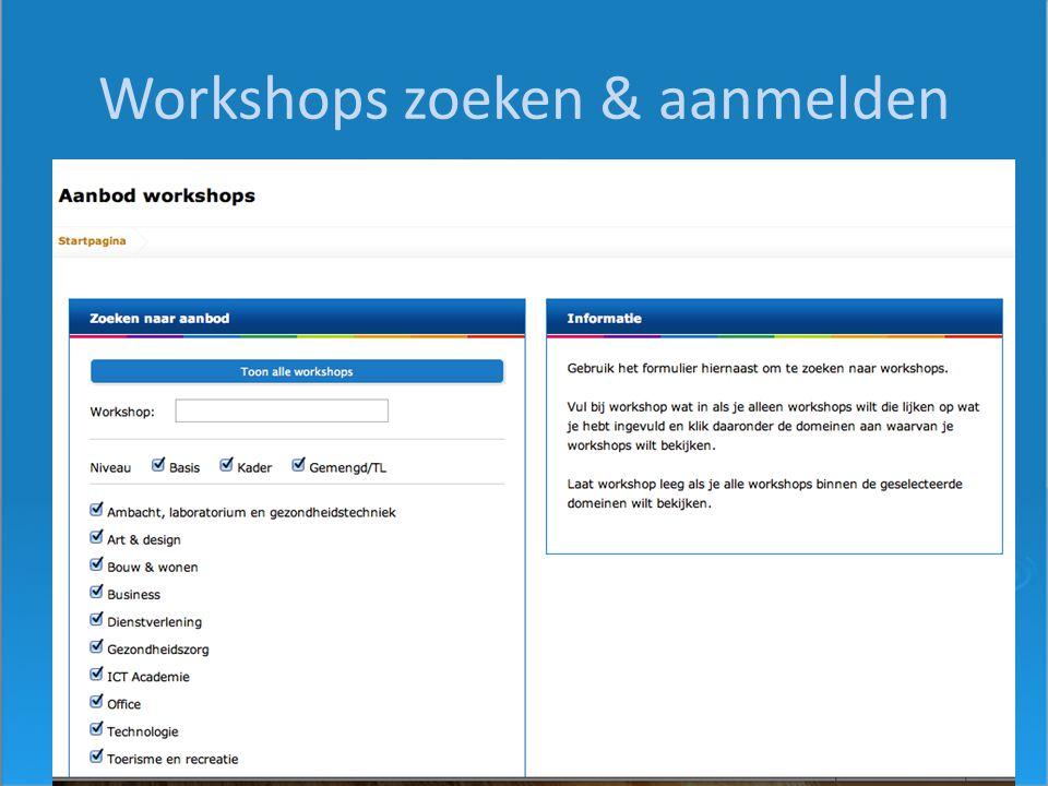 Workshops zoeken & aanmelden