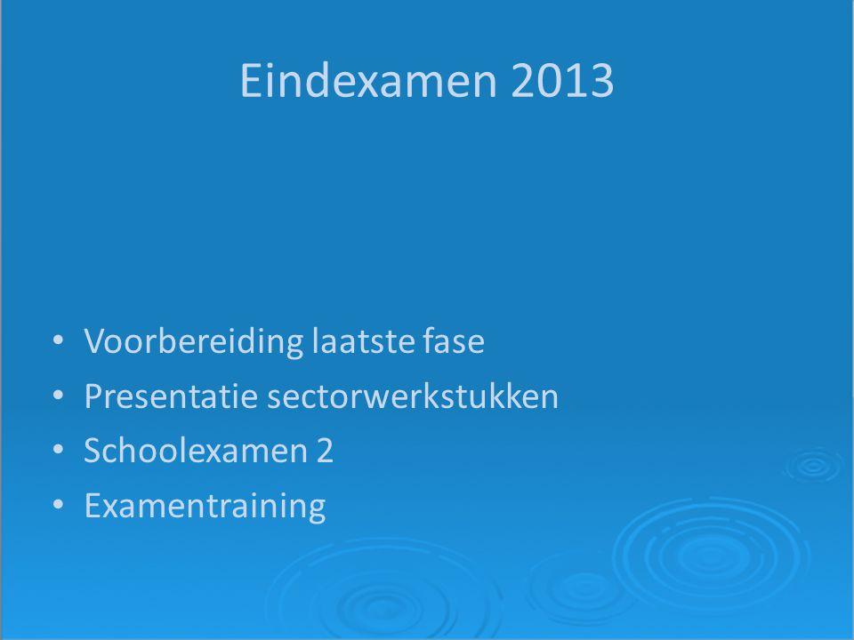 Eindexamen 2013 Voorbereiding laatste fase Presentatie sectorwerkstukken Schoolexamen 2 Examentraining