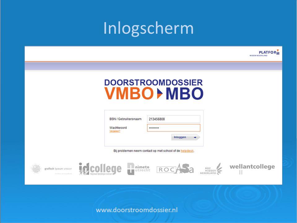 Inlogscherm www.doorstroomdossier.nl