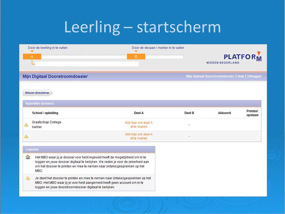 Leerling – startscherm