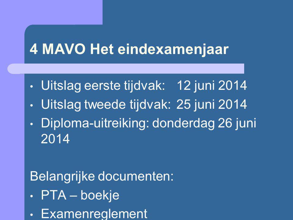 4 MAVO Het eindexamenjaar Uitslag eerste tijdvak: 12 juni 2014 Uitslag tweede tijdvak:25 juni 2014 Diploma-uitreiking: donderdag 26 juni 2014 Belangrijke documenten: PTA – boekje Examenreglement