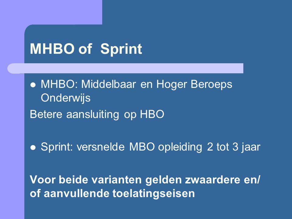 MHBO of Sprint MHBO: Middelbaar en Hoger Beroeps Onderwijs Betere aansluiting op HBO Sprint: versnelde MBO opleiding 2 tot 3 jaar Voor beide varianten gelden zwaardere en/ of aanvullende toelatingseisen