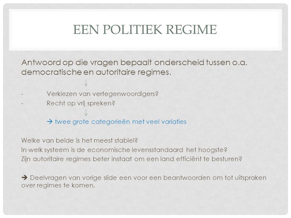 EEN POLITIEK REGIME Antwoord op die vragen bepaalt onderscheid tussen o.a.