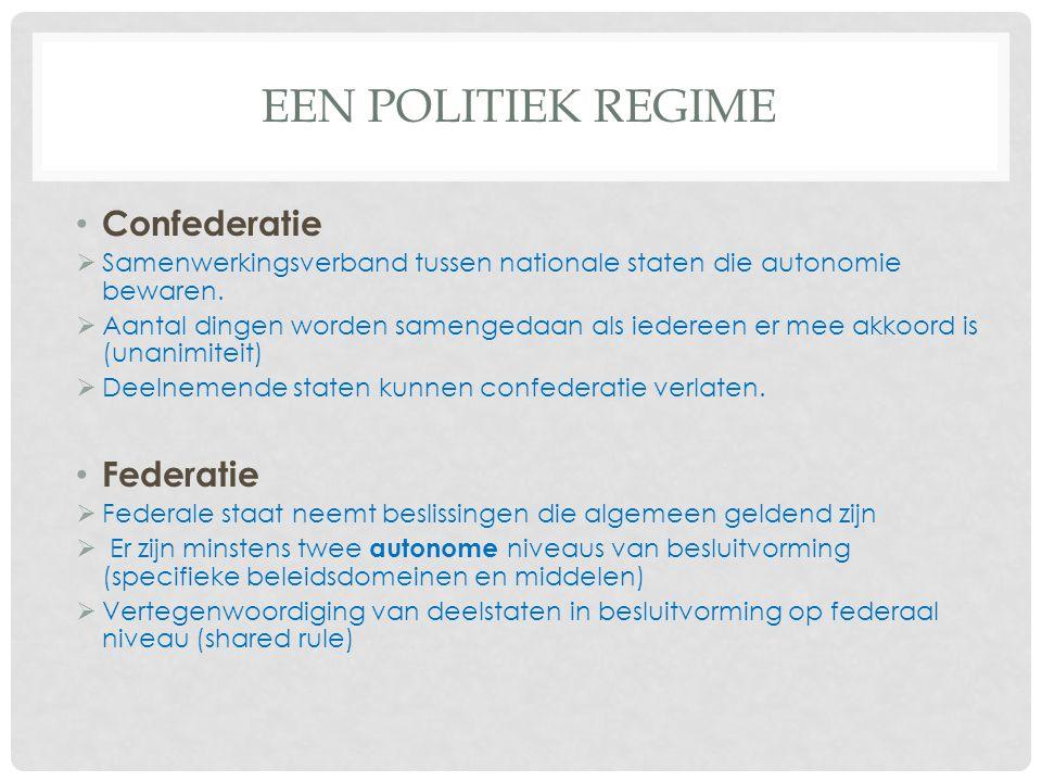 EEN POLITIEK REGIME Confederatie  Samenwerkingsverband tussen nationale staten die autonomie bewaren.