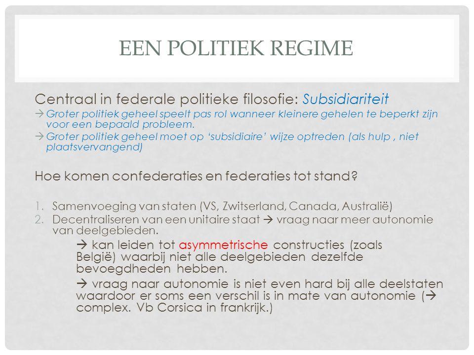 EEN POLITIEK REGIME Centraal in federale politieke filosofie: Subsidiariteit  Groter politiek geheel speelt pas rol wanneer kleinere gehelen te beperkt zijn voor een bepaald probleem.
