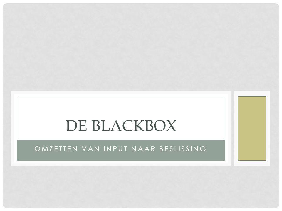 OMZETTEN VAN INPUT NAAR BESLISSING DE BLACKBOX