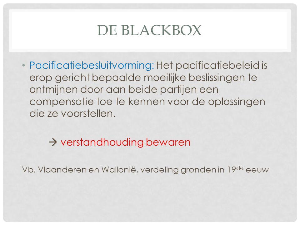 DE BLACKBOX Pacificatiebesluitvorming: Het pacificatiebeleid is erop gericht bepaalde moeilijke beslissingen te ontmijnen door aan beide partijen een
