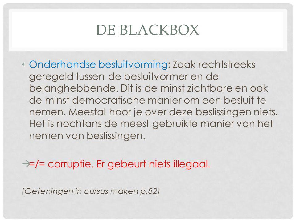 DE BLACKBOX Onderhandse besluitvorming : Zaak rechtstreeks geregeld tussen de besluitvormer en de belanghebbende. Dit is de minst zichtbare en ook de