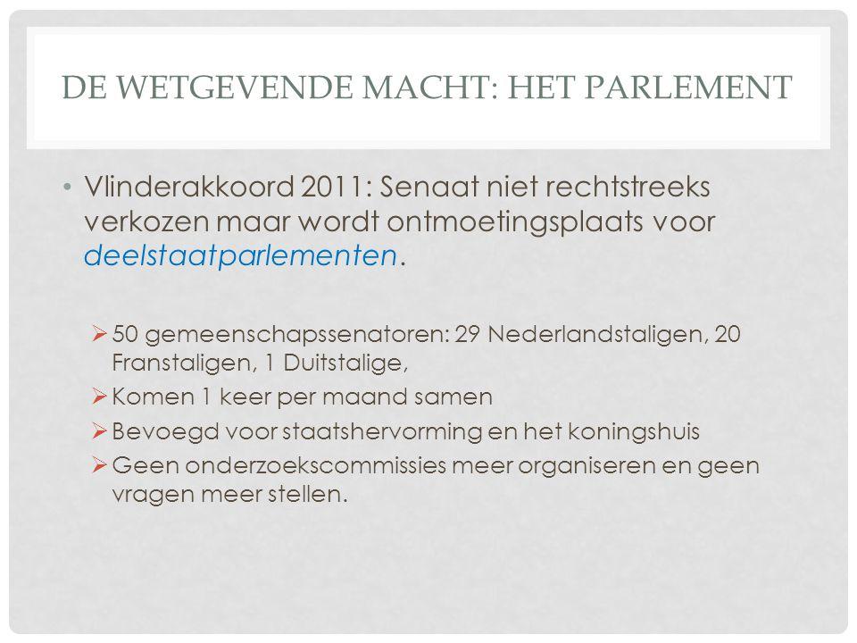 DE WETGEVENDE MACHT: HET PARLEMENT Vlinderakkoord 2011: Senaat niet rechtstreeks verkozen maar wordt ontmoetingsplaats voor deelstaatparlementen.