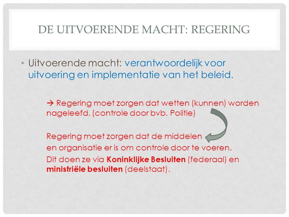 DE UITVOERENDE MACHT: REGERING Uitvoerende macht: verantwoordelijk voor uitvoering en implementatie van het beleid.