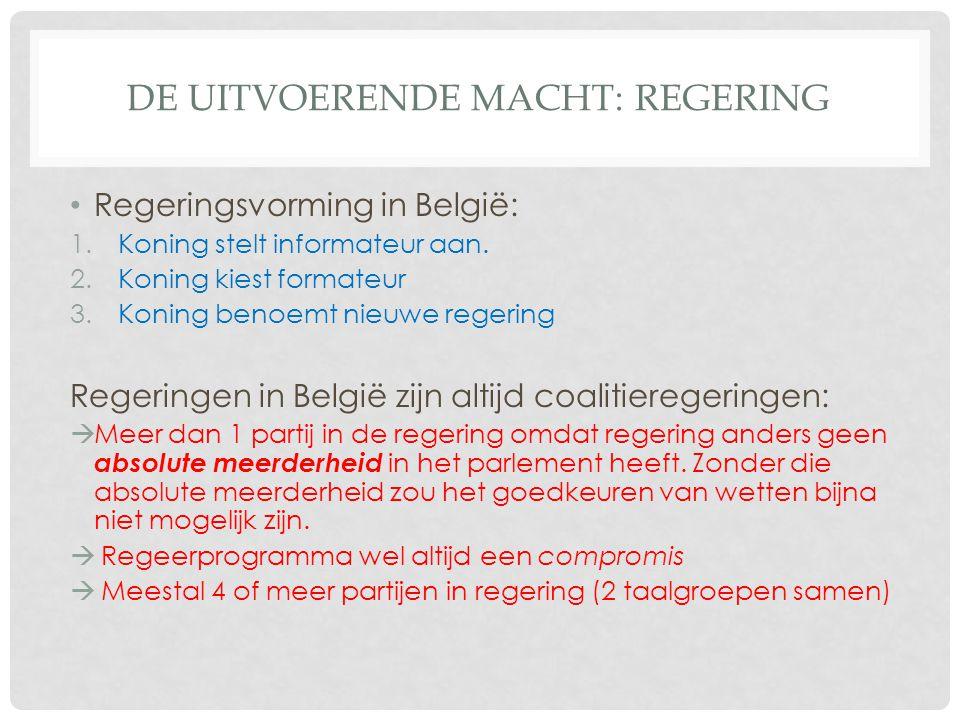DE UITVOERENDE MACHT: REGERING Regeringsvorming in België: 1.Koning stelt informateur aan. 2.Koning kiest formateur 3.Koning benoemt nieuwe regering R