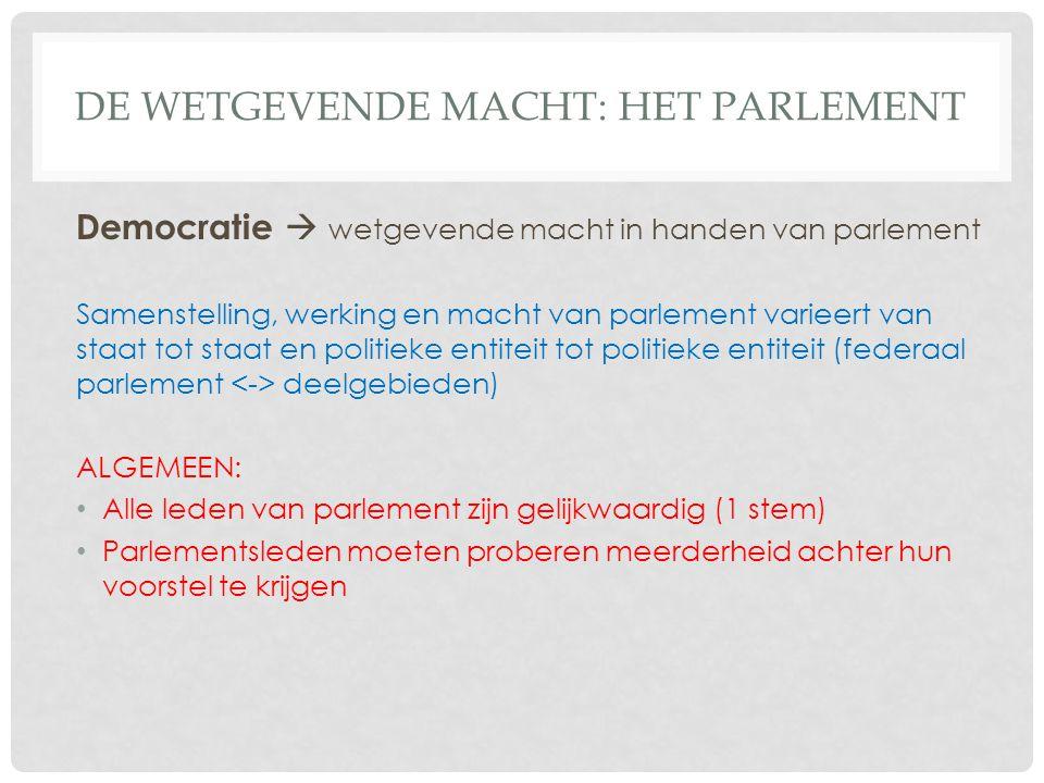 DE WETGEVENDE MACHT: HET PARLEMENT Democratie  wetgevende macht in handen van parlement Samenstelling, werking en macht van parlement varieert van st