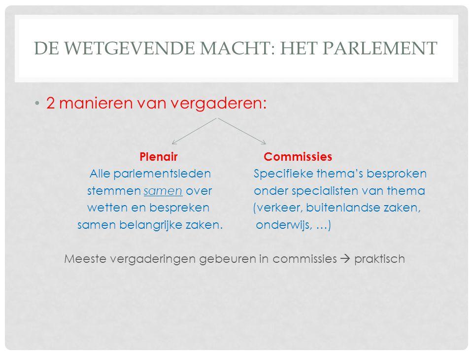 DE WETGEVENDE MACHT: HET PARLEMENT 2 manieren van vergaderen: Plenair Commissies Alle parlementsleden Specifieke thema's besproken stemmen samen over onder specialisten van thema wetten en bespreken (verkeer, buitenlandse zaken, samen belangrijke zaken.