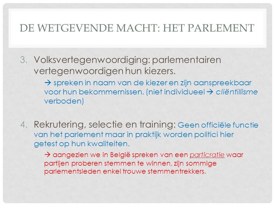 DE WETGEVENDE MACHT: HET PARLEMENT 3.Volksvertegenwoordiging: parlementairen vertegenwoordigen hun kiezers.  spreken in naam van de kiezer en zijn aa