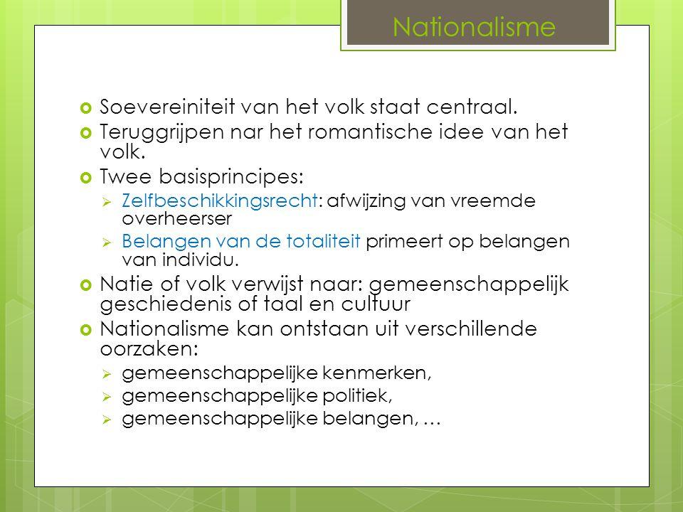 Nationalisme  Soevereiniteit van het volk staat centraal.  Teruggrijpen nar het romantische idee van het volk.  Twee basisprincipes:  Zelfbeschikk