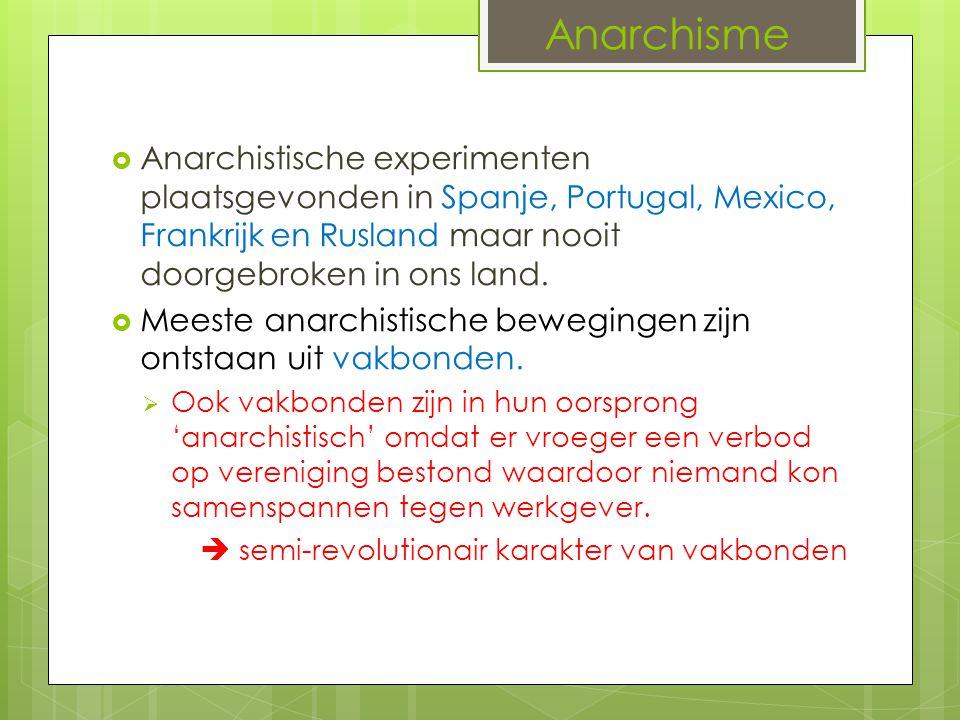 Anarchisme  Anarchistische experimenten plaatsgevonden in Spanje, Portugal, Mexico, Frankrijk en Rusland maar nooit doorgebroken in ons land.  Meest