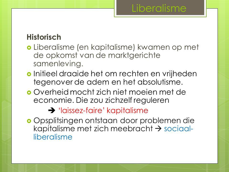 Liberalisme Historisch  Liberalisme (en kapitalisme) kwamen op met de opkomst van de marktgerichte samenleving.  Initieel draaide het om rechten en