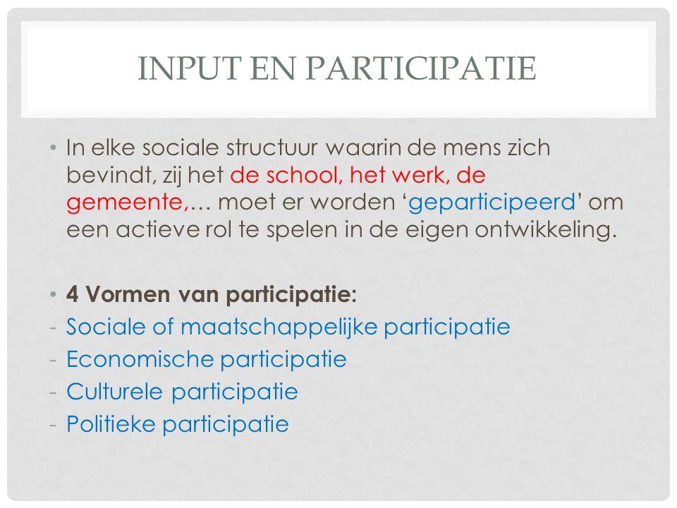 INPUT EN PARTICIPATIE In elke sociale structuur waarin de mens zich bevindt, zij het de school, het werk, de gemeente,… moet er worden 'geparticipeerd