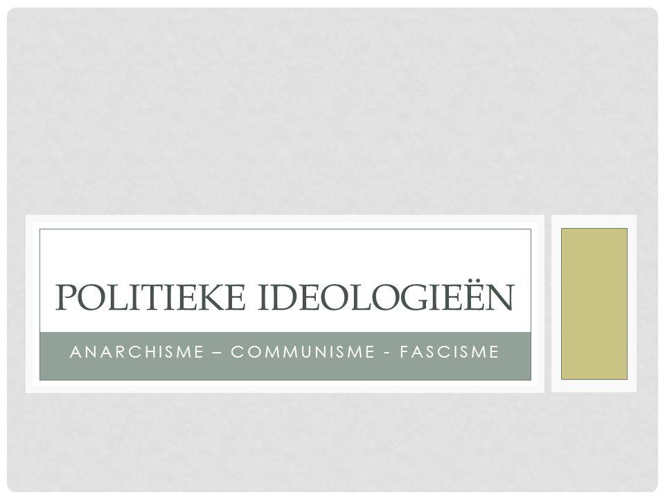 ANARCHISME – COMMUNISME - FASCISME POLITIEKE IDEOLOGIEËN