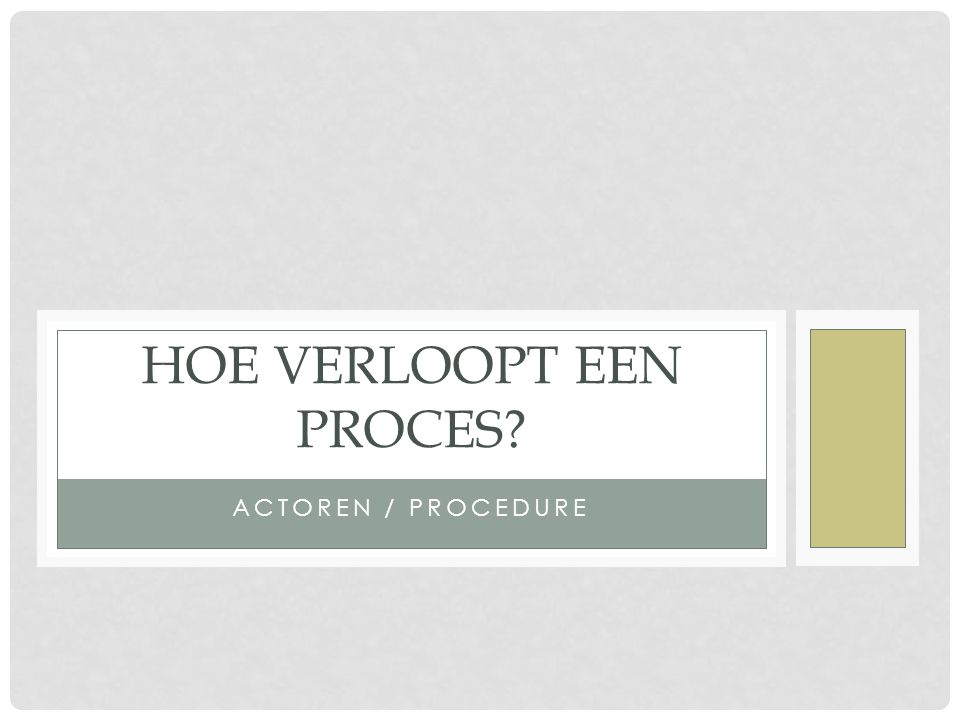 ACTOREN / PROCEDURE HOE VERLOOPT EEN PROCES?