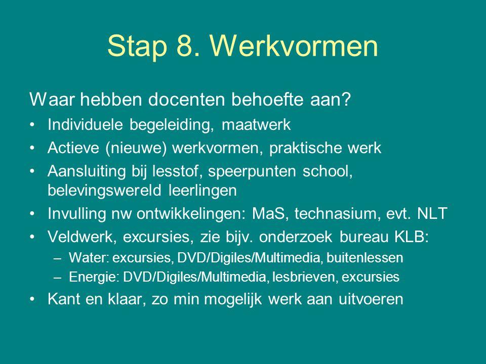 Stap 8. Werkvormen Waar hebben docenten behoefte aan.