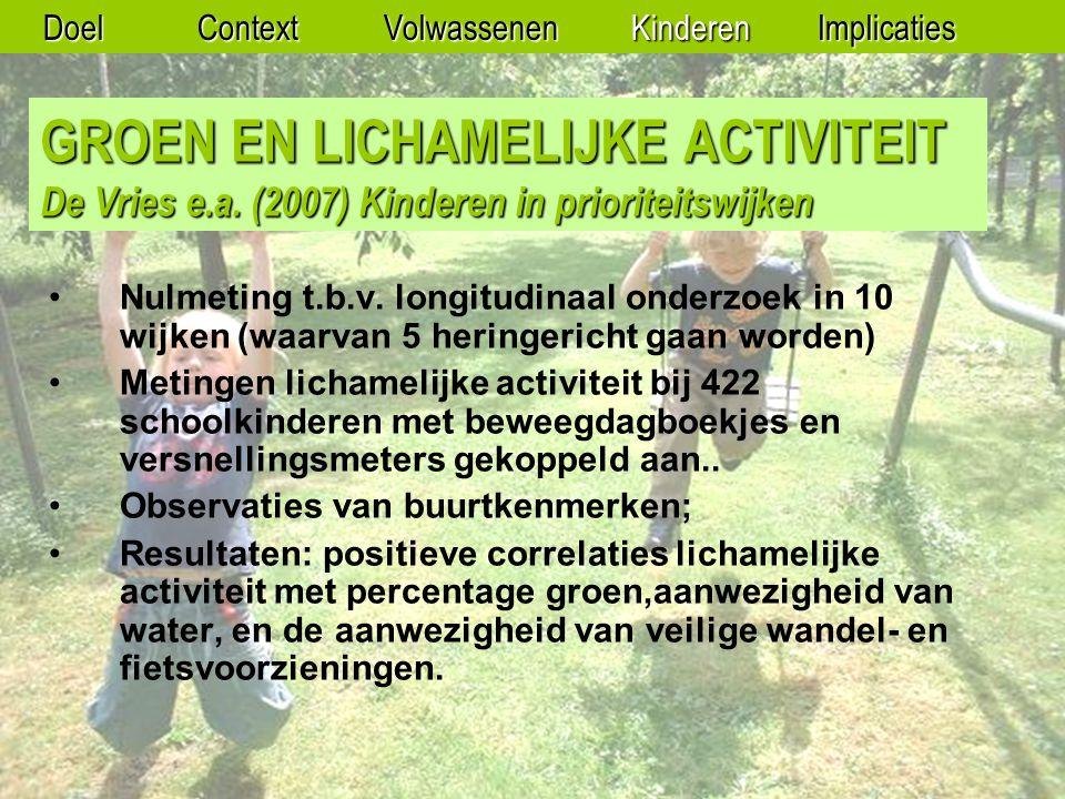 GROEN EN LICHAMELIJKE ACTIVITEIT De Vries e.a.