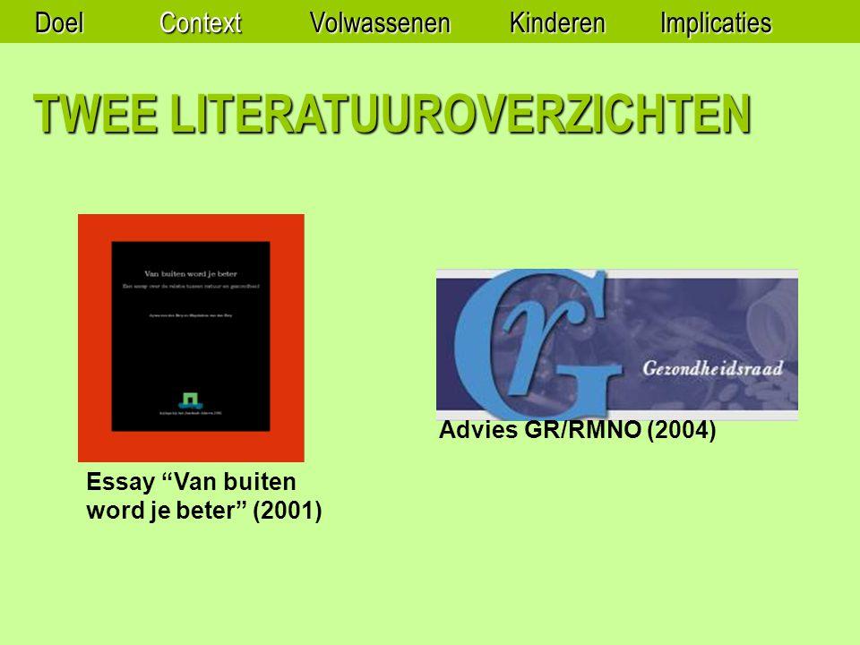 Essay Van buiten word je beter (2001) Advies GR/RMNO (2004) TWEE LITERATUUROVERZICHTEN DoelContextVolwassenenKinderenImplicaties