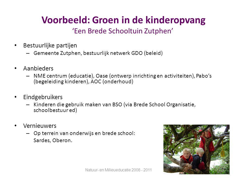 Voorbeeld: Groen in de kinderopvang 'Een Brede Schooltuin Zutphen' Bestuurlijke partijen – Gemeente Zutphen, bestuurlijk netwerk GDO (beleid) Aanbiede