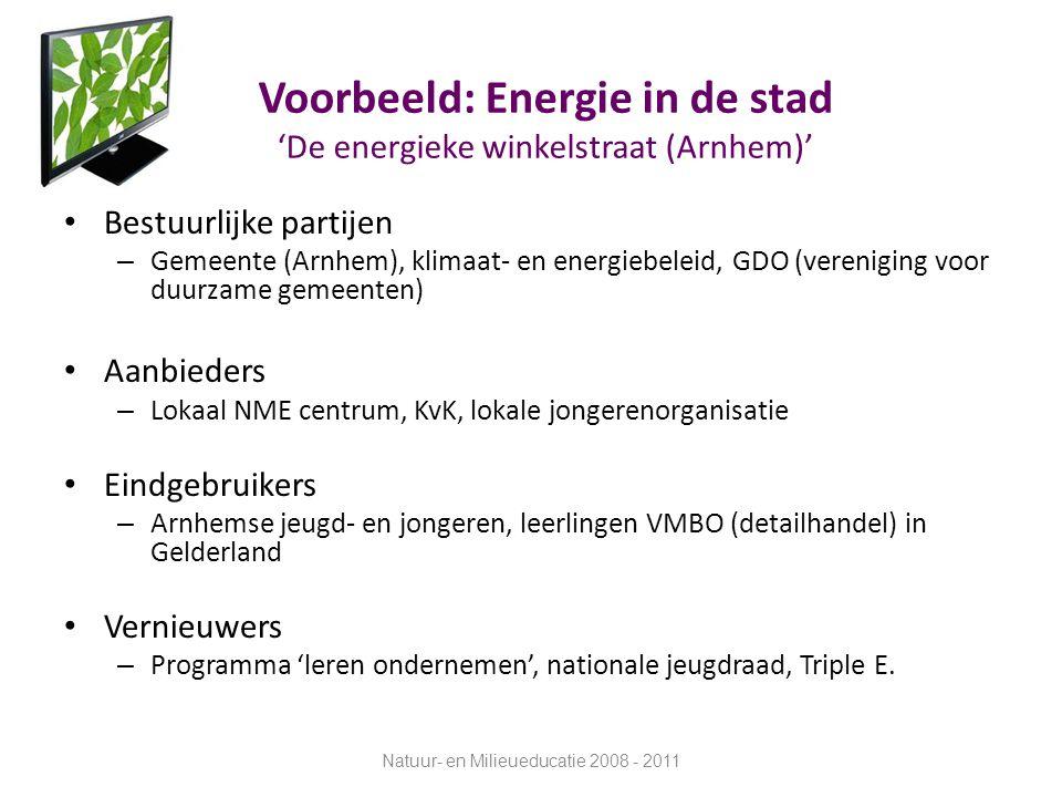 Voorbeeld: Energie in de stad 'De energieke winkelstraat (Arnhem)' Bestuurlijke partijen – Gemeente (Arnhem), klimaat- en energiebeleid, GDO (verenigi