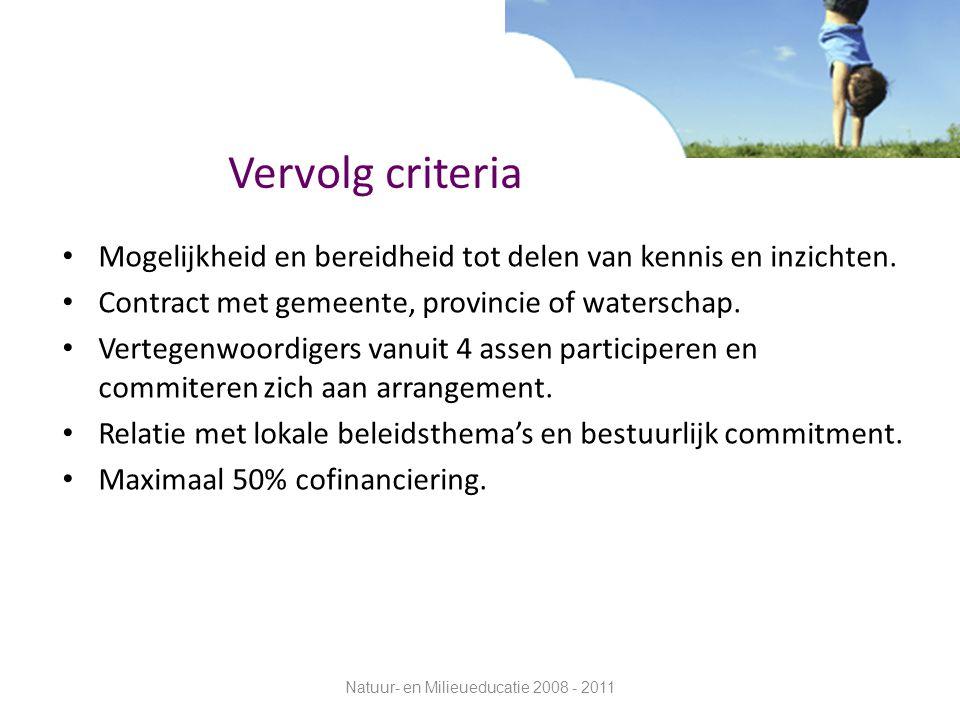 Vervolg criteria Mogelijkheid en bereidheid tot delen van kennis en inzichten. Contract met gemeente, provincie of waterschap. Vertegenwoordigers vanu