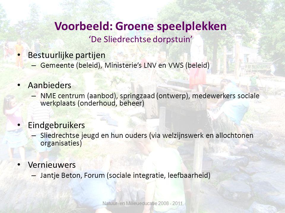 Voorbeeld: Groen in de kinderopvang 'Een Brede Schooltuin Zutphen' Bestuurlijke partijen – Gemeente Zutphen, bestuurlijk netwerk GDO (beleid) Aanbieders – NME centrum (educatie), Oase (ontwerp inrichting en activiteiten), Pabo's (begeleiding kinderen), AOC (onderhoud) Eindgebruikers – Kinderen die gebruik maken van BSO (via Brede School Organisatie, schoolbestuur ed) Vernieuwers – Op terrein van onderwijs en brede school: Sardes, Oberon.