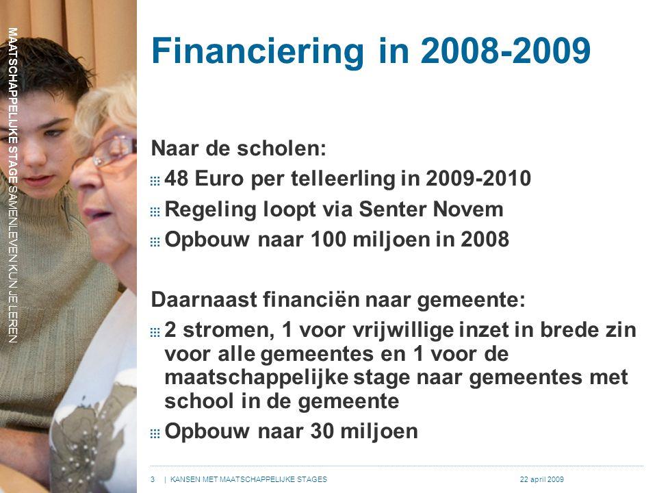 MAATSCHAPPELIJKE STAGE SAMENLEVEN KUN JE LEREN 3| KANSEN MET MAATSCHAPPELIJKE STAGES22 april 2009 Financiering in 2008-2009 Naar de scholen: 48 Euro p