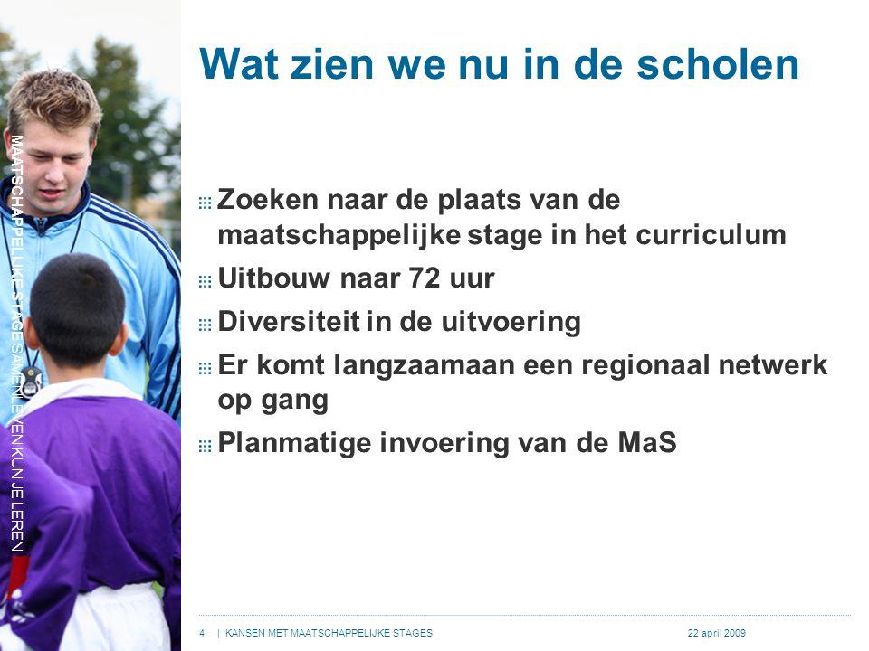 MAATSCHAPPELIJKE STAGE SAMENLEVEN KUN JE LEREN 4| KANSEN MET MAATSCHAPPELIJKE STAGES22 april 2009 Wat zien we nu in de scholen Zoeken naar de plaats van de maatschappelijke stage in het curriculum Uitbouw naar 72 uur Diversiteit in de uitvoering Er komt langzaamaan een regionaal netwerk op gang Planmatige invoering van de MaS MAATSCHAPPELIJKE STAGE SAMENLEVEN KUN JE LEREN