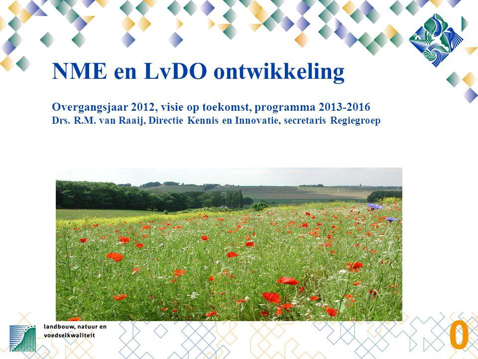 0 NME en LvDO ontwikkeling Overgangsjaar 2012, visie op toekomst, programma 2013-2016 Drs. R.M. van Raaij, Directie Kennis en Innovatie, secretaris Re